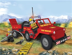 FIRE - JEEP WILLYS MB FIRE BRIGADE (140) - Fire Rescue Jeep with Trailer, 140 pieces