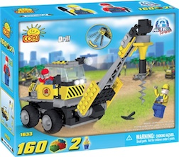 CONSTRUCTION - DRILL (160 PC) - Cobi Action Town- Construction Auger, 160 pieces