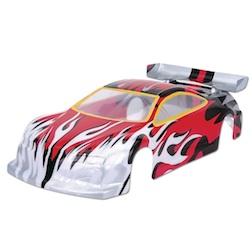 1/10 ON-ROAD BODY (RED/WHITE FLAME)
