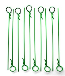 LONG GREEN BODY PINS (10)