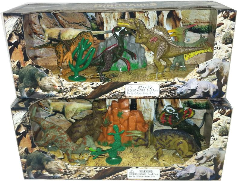 2 Assorted Dinosaur Play Set, Open Touch Box - ONLY 1 box will be shipped (random pick)