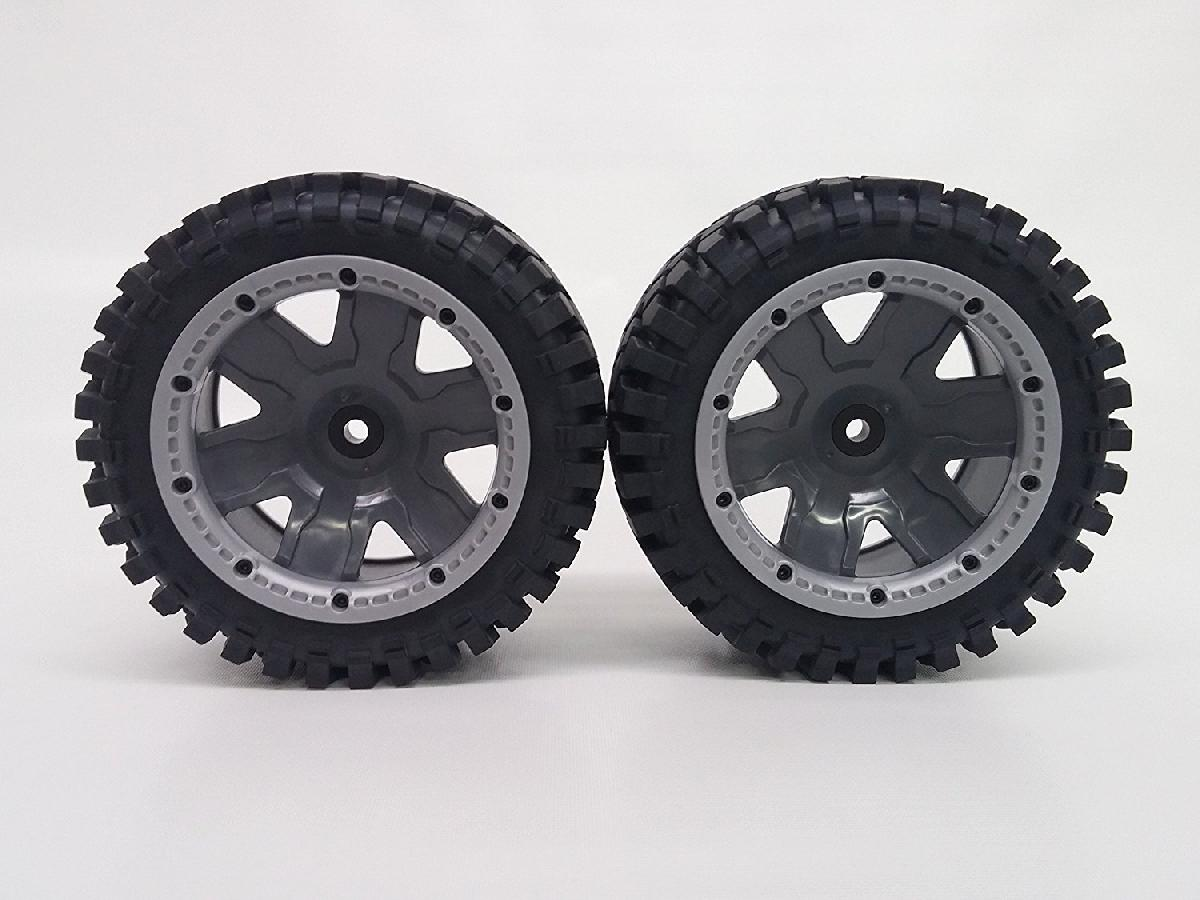 K-Rock Tires w/ Rear Yuma Beadlock Rims (Gun Metal/Silver) (1 Pair) - Low profile Monster Truck tires with beadlocks.