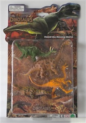 LARGE CARDED DINO SET, 3 ASST STYLES