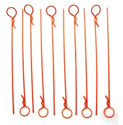 LONG ORANGE BODY PINS (10)